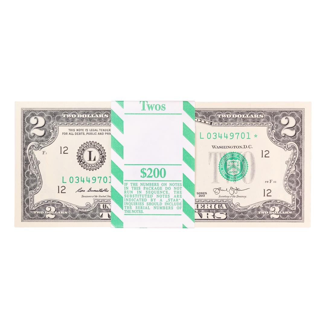Pack of (100) Consecutive 2013 $2 Federal Reserve STAR