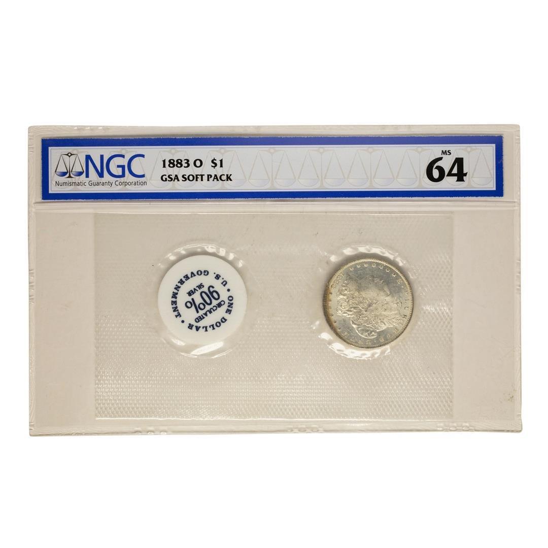 1883-O $1 Morgan Silver Dollar Coin GSA Soft pack NGC