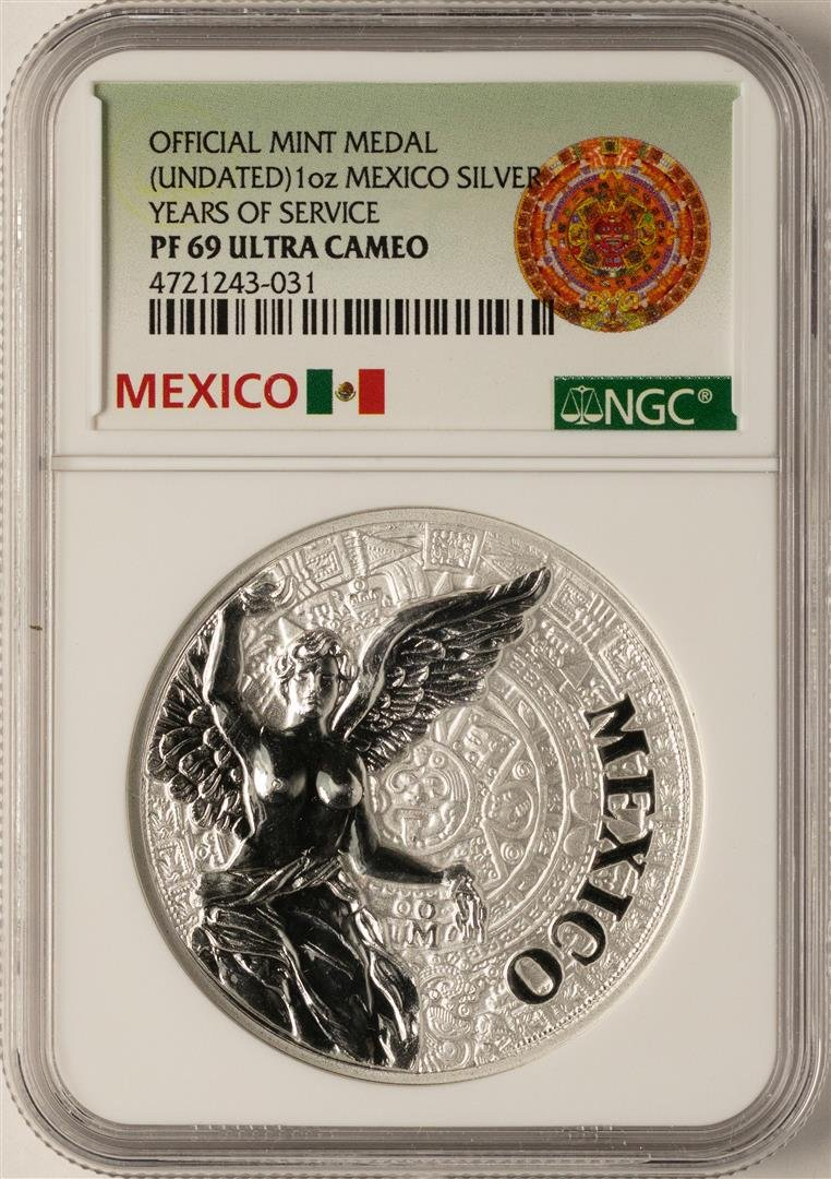 Undated Mexico Silver Official Mint Medal NGC PF69