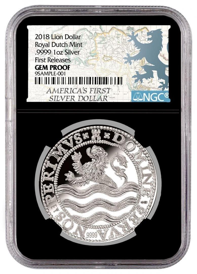 2018 Netherlands 1 oz. Silver Lion Dollar Coin NGC Gem