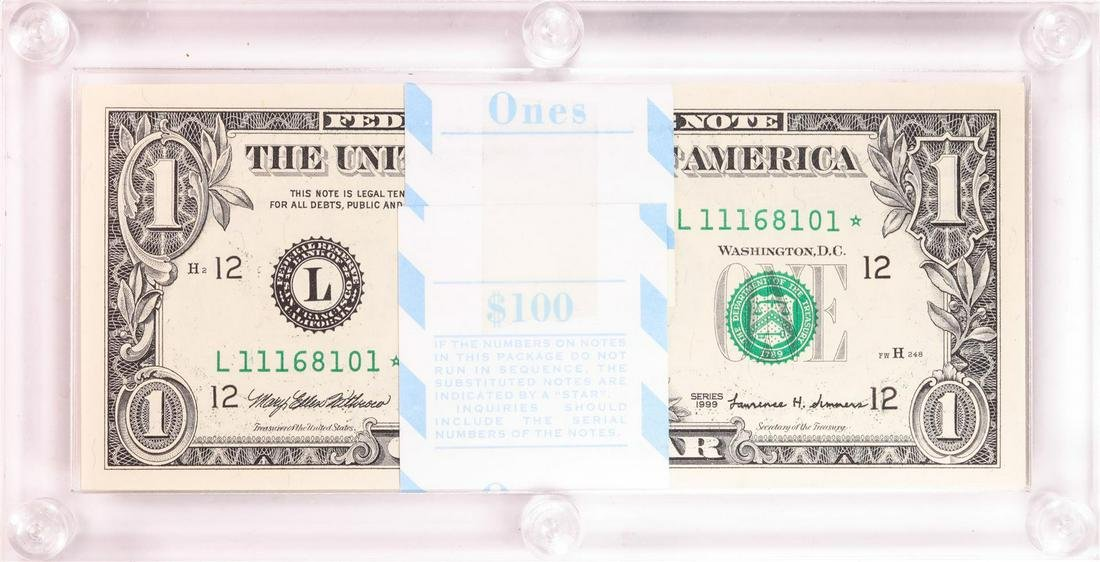 Pack of (100) 1999 $1 Federal Reserve STAR Notes San
