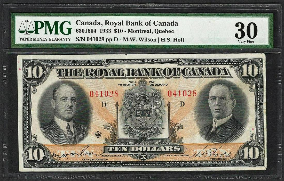 1933 $10 Montreal Royal Bank of Canada Note PMG Very