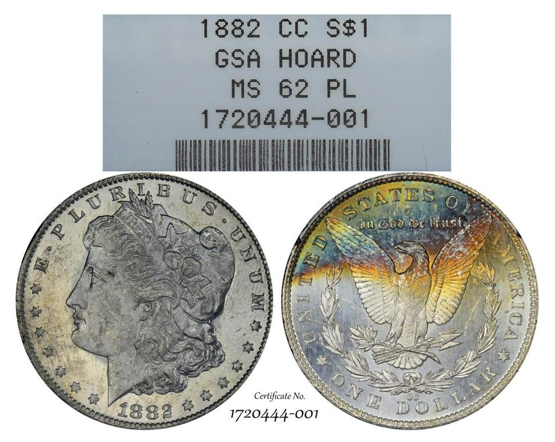 1882-CC $1 Morgan Silver Dollar Coin GSA Hoard NGC MS62
