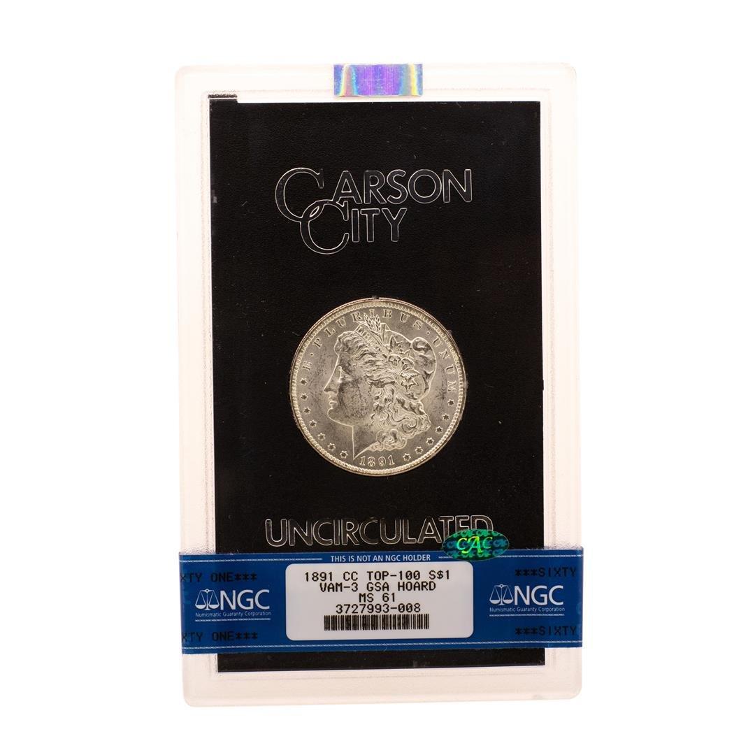 1891-CC Top-100 VAM-3 $1 Morgan Silver Dollar Coin