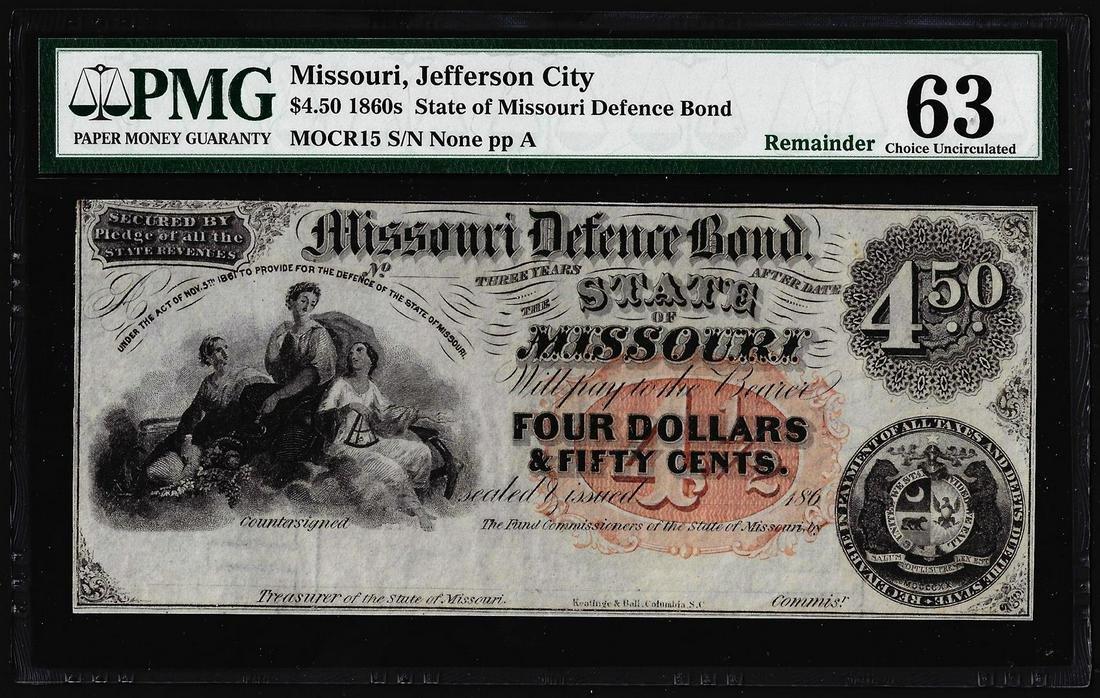 1860's $4.50 State of Missouri Defence Bond Obsolete
