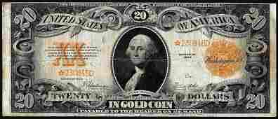 1922 $20 Gold Certificate STAR Note