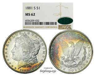 1881-S $1 Morgan Silver Dollar Coin NGC MS62 CAC