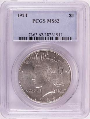 1924 $1 Peace Silver Dollar Coin PCGS MS62