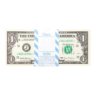 Pack of (100) Consecutive 2017 $1 Federal Reserve STAR