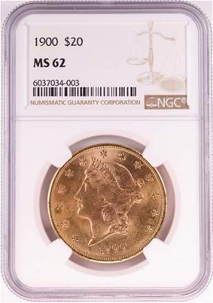 1900 $20 Liberty Head Double Eagle Gold Coin NGC MS62
