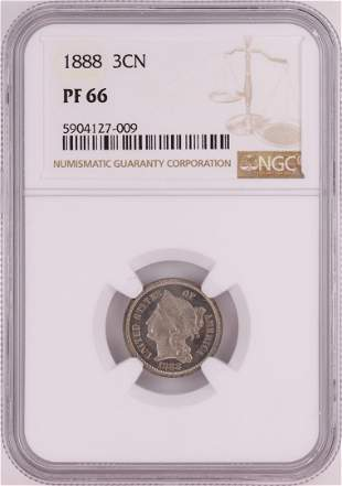 1888 Proof Three Cent Nickel Coin NGC PF66