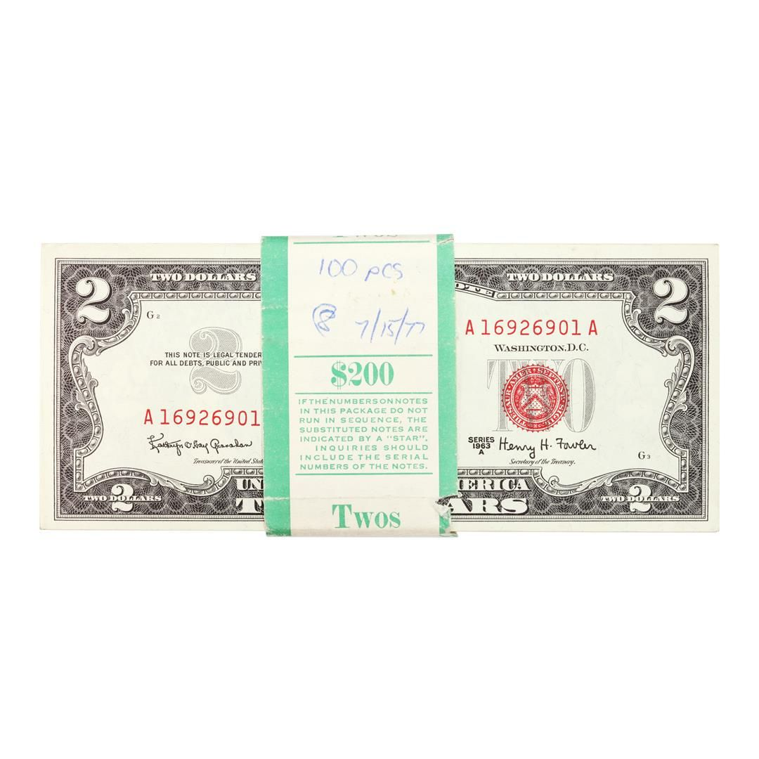 Pack of (100) Consecutive 1963A $2 Legal Tender Notes