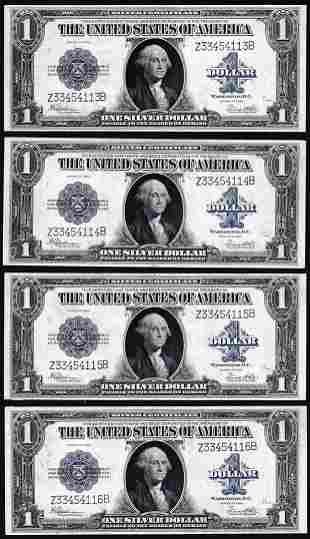 Cut Sheet of (4) Consecutive 1923 $1 Silver Certificate
