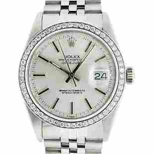 Rolex Men's Stainless Steel Silver Index 36MM Diamond
