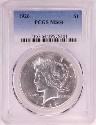 1926 $1 Peace Silver Dollar Coin PCGS MS64