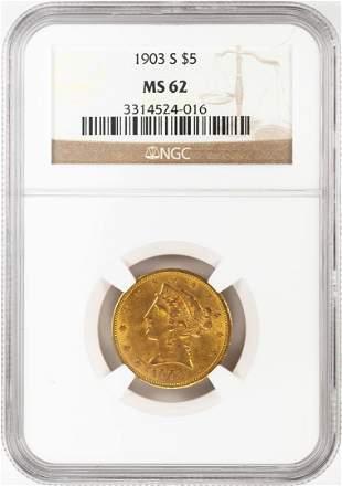 1903-S $5 Liberty Head Half Eagle Gold Coin NGC MS62