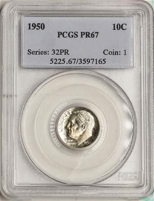 1950 Proof Roosevelt Dime Coin PCGS PR67