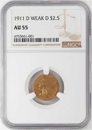 1911-D Weak D $2 1/2 Indian Head Quarter Eagle Gold