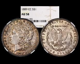 1889-CC $1 Morgan Silver Dollar Coin NGC AU58
