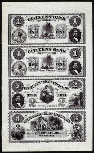 Uncut Sheet of $1/$1/$2/$3 1800's Citizens Bank of