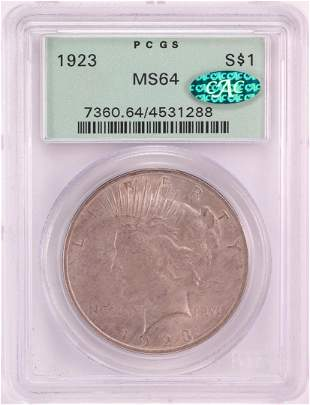 1923 $1 Peace Silver Dollar PCGS MS64 CAC Old Green