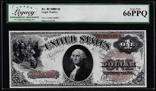 1880 $1 Legal Tender Note Fr.30 Legacy Gem New 66PPQ