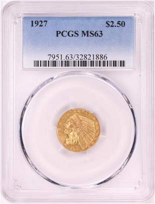 1927 $2 1/2 Indian Head Quarter Eagle Gold Coin PCGS