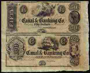 Half Sheet of 1800's $50 and $100 Canal Bank New
