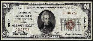 1929 $20 Commercial National Bank of Hillsboro, OR CH#