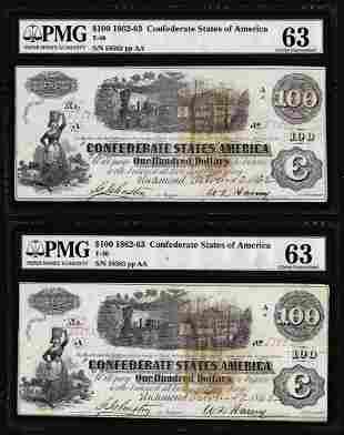 (2) Consecutive 1862 $100 Confederate States of America