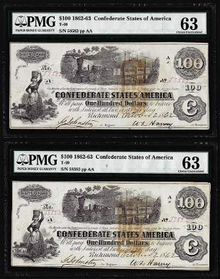 (2) Consecutive 1862 $100 Confederate States of America