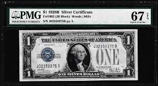 1928B $1 Funnyback Silver Certificate Note Fr.1602 PMG