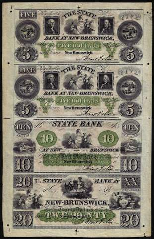 Uncut Sheet of $5/$5/$10/$20 The State Bank at New