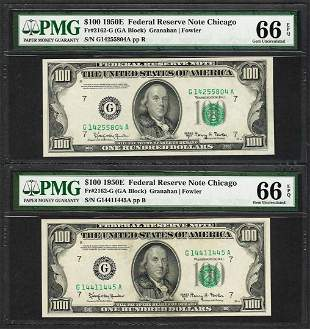 Lot of (2) 1950E $100 Federal Reserve Notes Chicago PMG