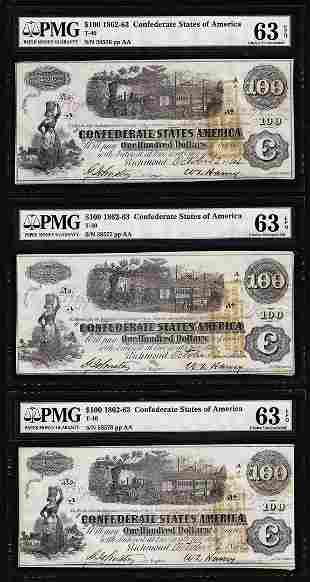 (3) Consecutive 1862 $100 Confederate States of America
