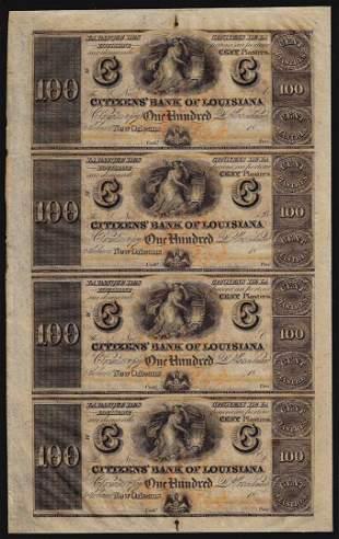 Uncut Sheet of $100 Citizens Bank of Louisiana Obsolete