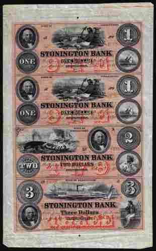 Uncut Sheet of $1/$1/$2/$3 1880 Stonington Bank