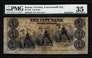 1856 $3 The City Bank Leavenworth City, KT Obsolete