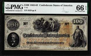 1862 $100 Confederate States of America Note T-41 PMG