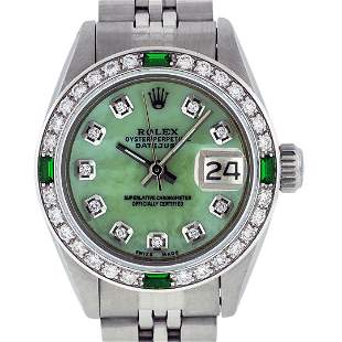 Rolex Ladies Stainless Steel Green Mother of Pearl