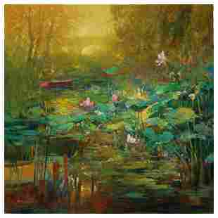 "Ming Feng ""Golden Lily Pads"" Limited Edition Giclee"