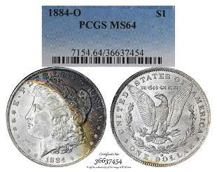 1884-O $1 Morgan Silver Dollar Coin PCGS MS64 Amazing