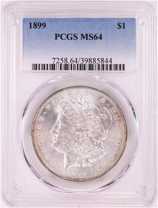 1899 $1 Morgan Silver Dollar Coin PCGS MS64