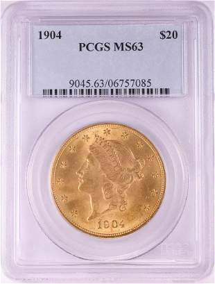 1904 $20 Liberty Head Double Eagle Gold Coin PCGS MS63