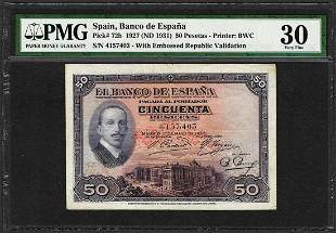 1927 Spain Banco de Espana 50 Pesetas Note Pick# 72b