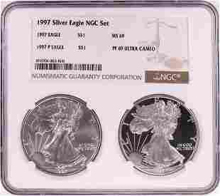 1997 $1 American Silver Eagle Coin Set NGC MS69/PF69