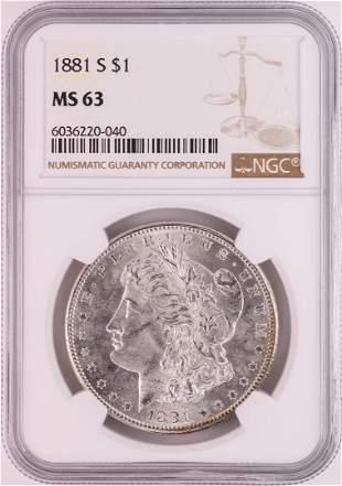 1881-S $1 Morgan Silver Dollar Coin NGC MS63 Great