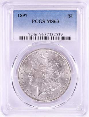 1897 $1 Morgan Silver Dollar Coin PCGS MS63