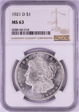 1921-D $1 Morgan Silver Dollar Coin NGC MS63