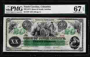 1872 $20 State of South Carolina Revenue Bond Obsolete